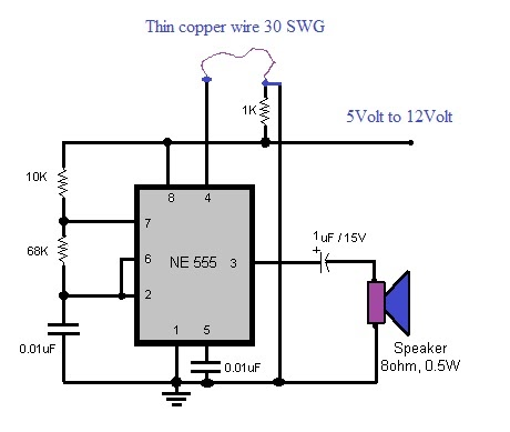 Hobby In Electronics Luggage Protector Circuit Using 555