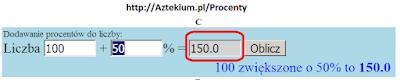 Dodawanie procentów do liczby
