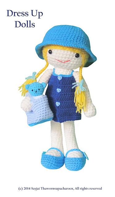 Amigurumi Blue Dress Doll Free Pattern | Handmade dolls patterns | 640x373