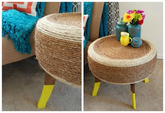 desain meja minimalis dari ban bekas