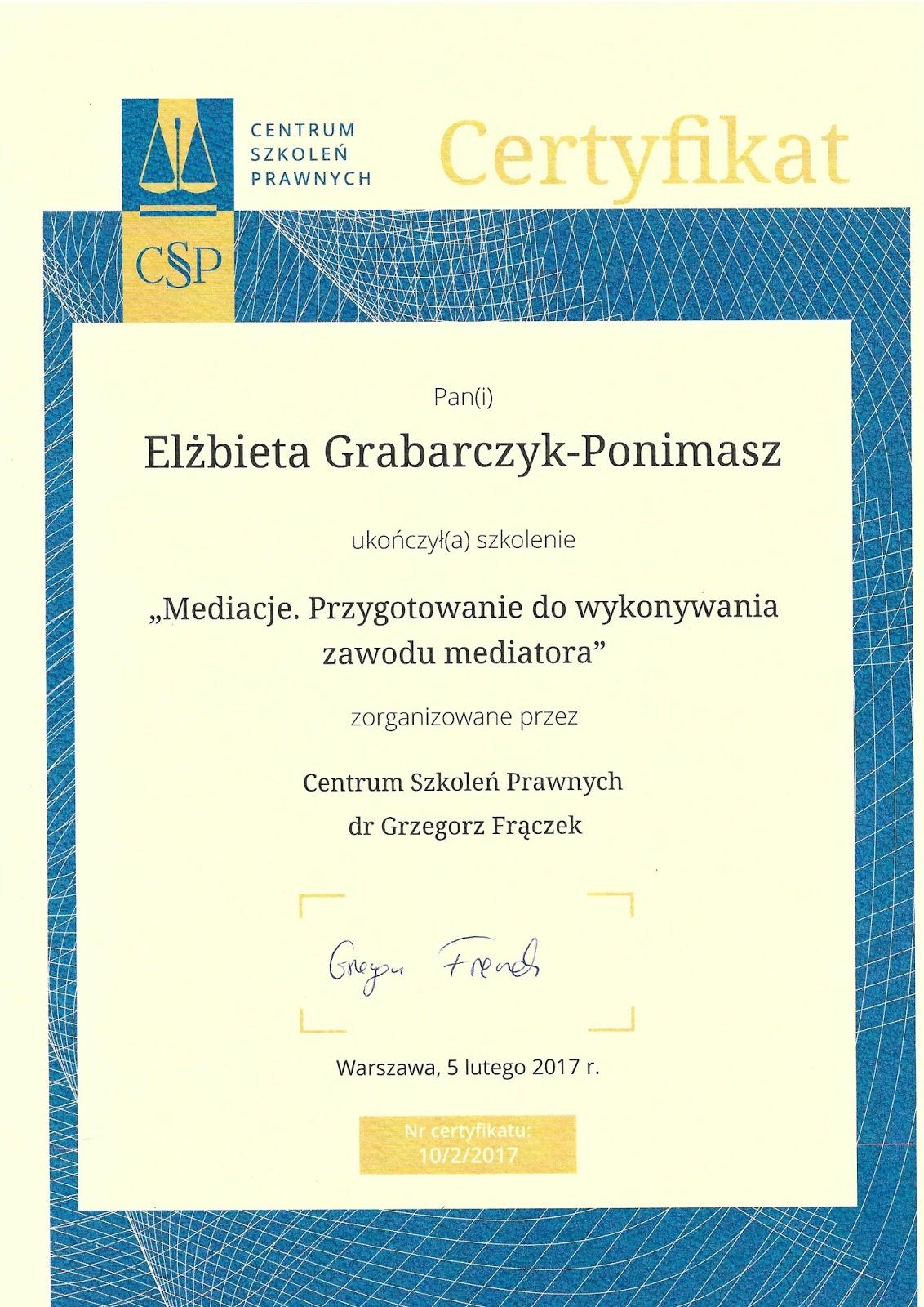 Dobry psycholog Warszawa - certyfikat mediatora