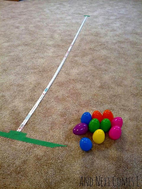 Exploring distance and math concepts using wobbly Easter eggs from And Next Comes L