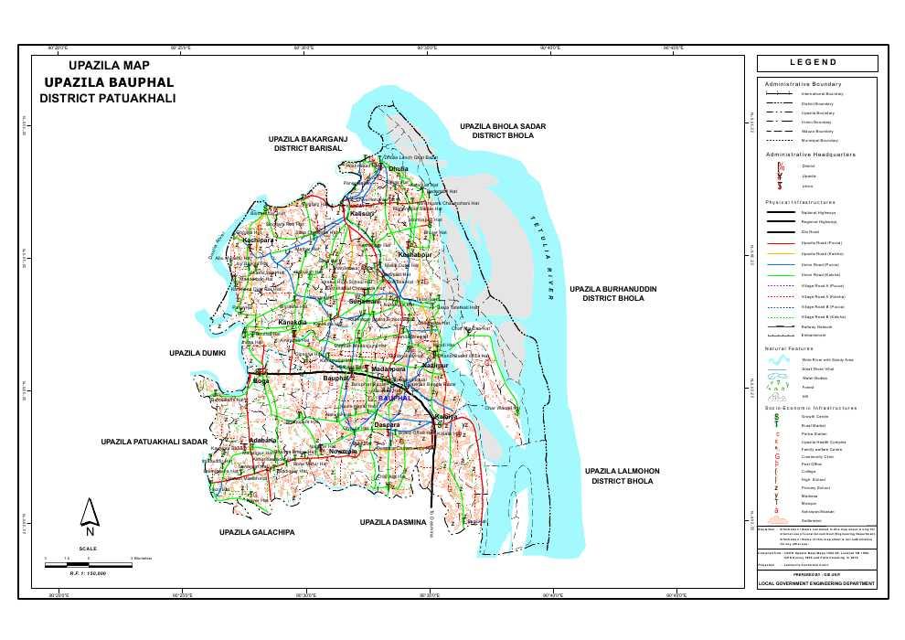 Bauphal Upazila Map Patuakhali  District Bangladesh
