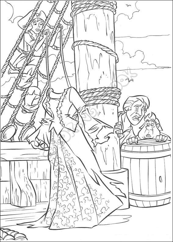 It is an image of Critical pirates of the caribbean coloring page