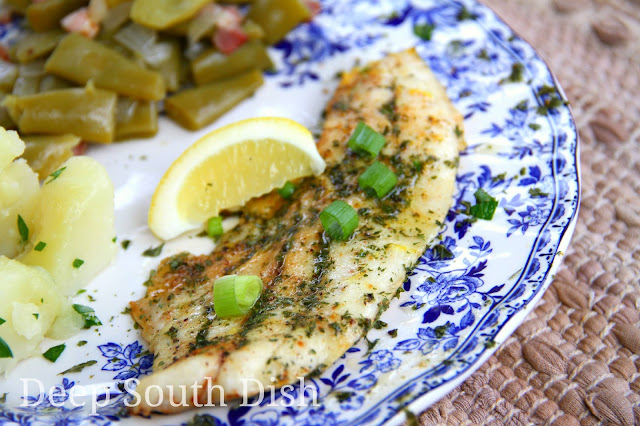Fresh fish, trout pictured here, seasoned simply with salt, pepper, Cajun seasoning and Old Bay, drizzled with butter and dusted with lemon zest, baked and garnished with sliced green onion and fresh parsley. Works well with many fish. Served here with Southern style green beans and parslied potatoes.