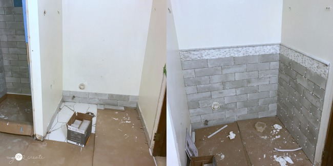 tiling walls around toilet