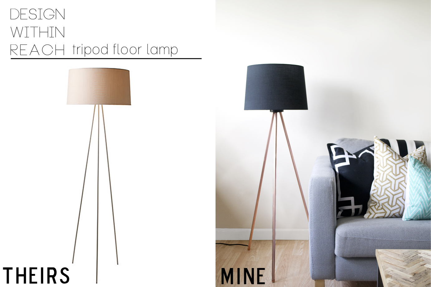 DIY tripod lamp