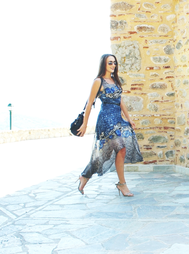 Snakeskin asymmetric dress and snakeskin sandals