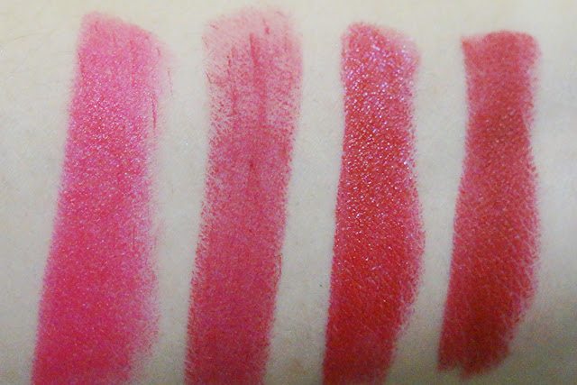 MAC Lipsticks in (L-R) A Killing Smile, All Fired Up, Mind Control and Russian Red