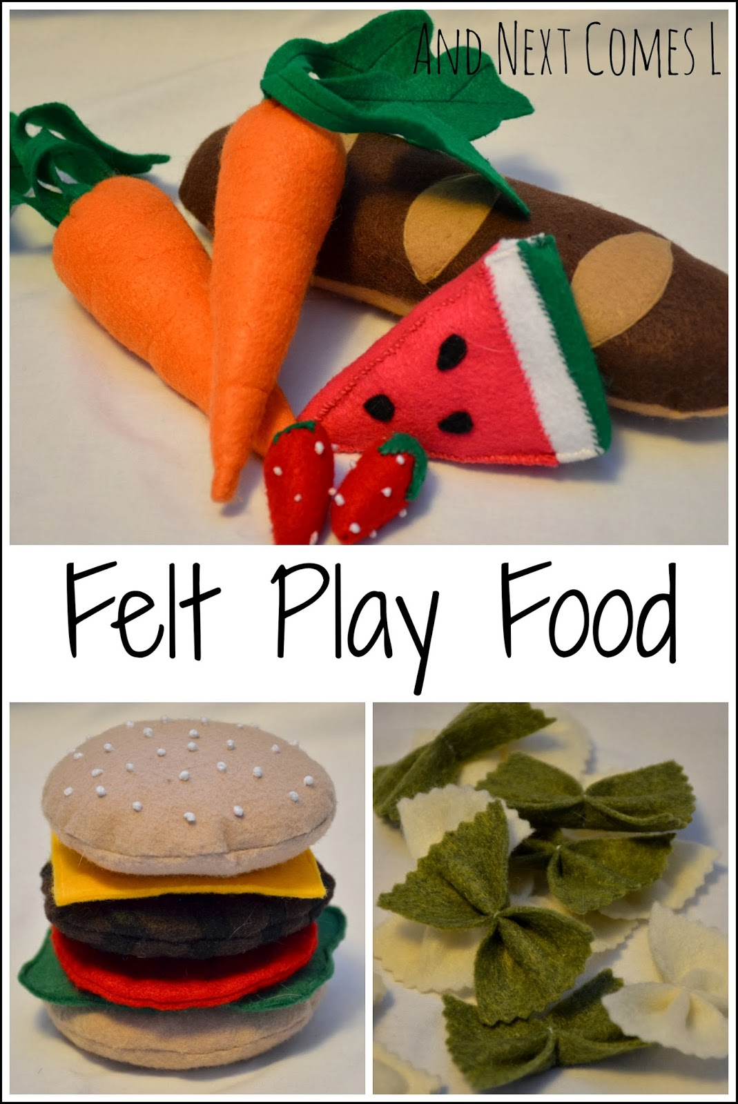 Tutorials for making your own felt play food for kids from And Next Comes L