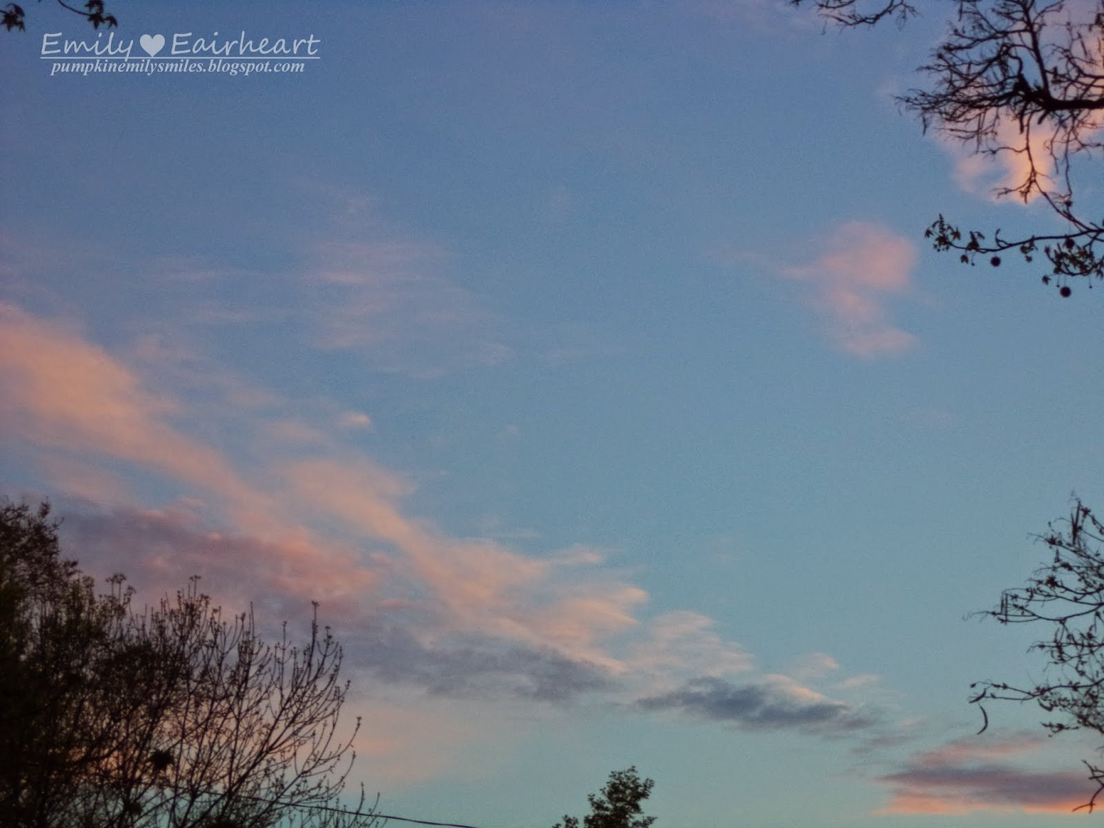 Pink and dark purple clouds. In the lower right there is cloud shape of a fox running.