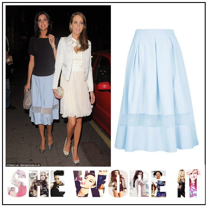The Only Way is Essex, Lucy Mecklenburgh, Topshop, Pale Blue, Midi Length, Full Skirt, Sheer Panel, Organza Detail, TOWIE, Lydia Bright