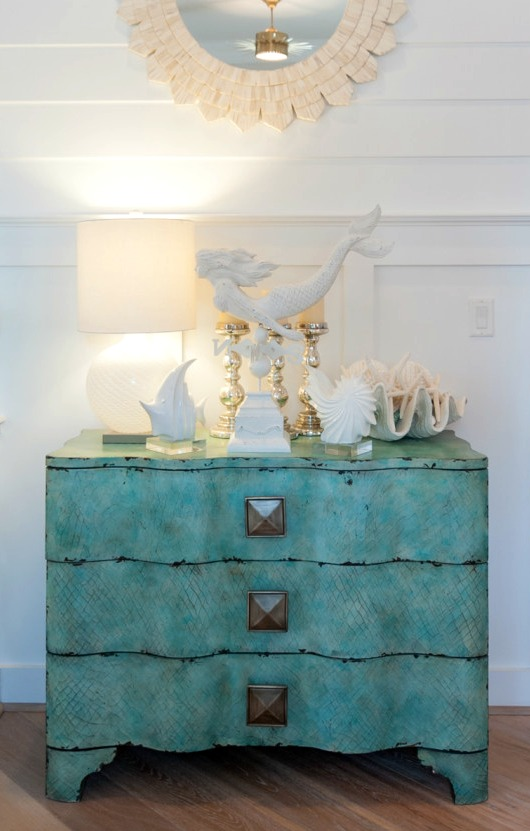 Coastal Beach Vignette on Cabinet