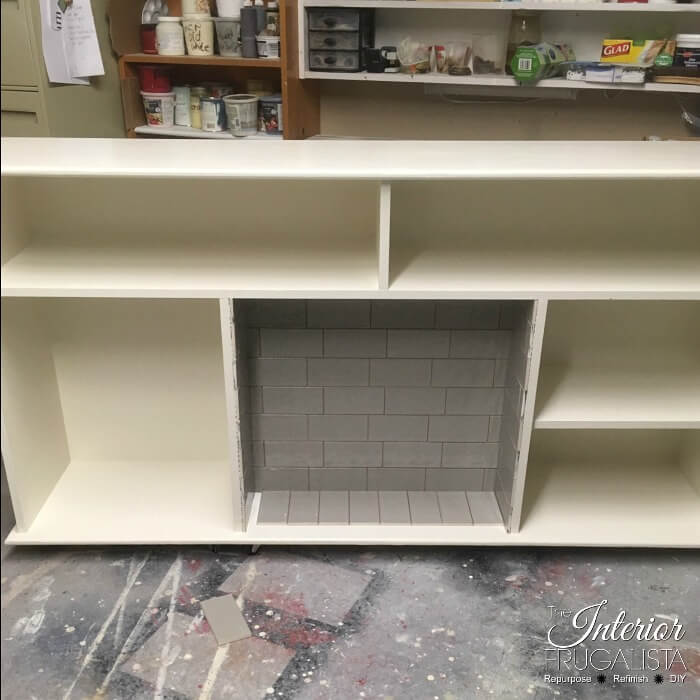 DIY Faux Fireplace With Subway Tiled Firebox