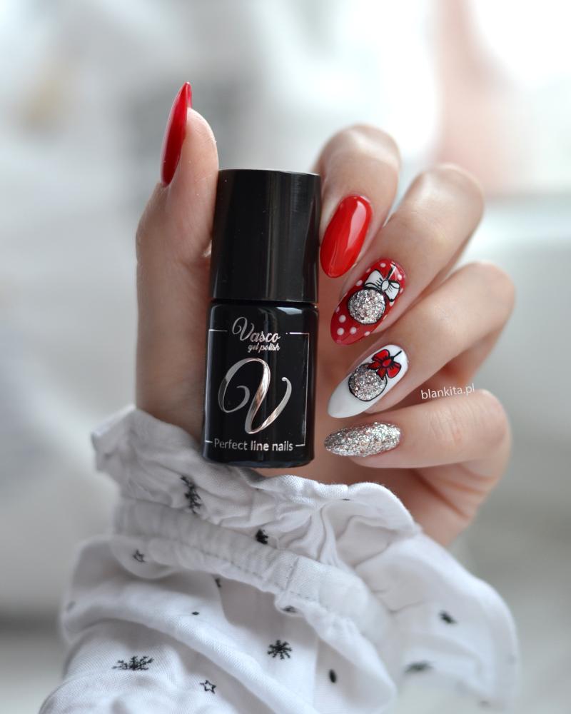 vasco nails, swiateczne paznokcie, srebrny lakier hybrydowy, srebrne drobinki, czerwony lakier