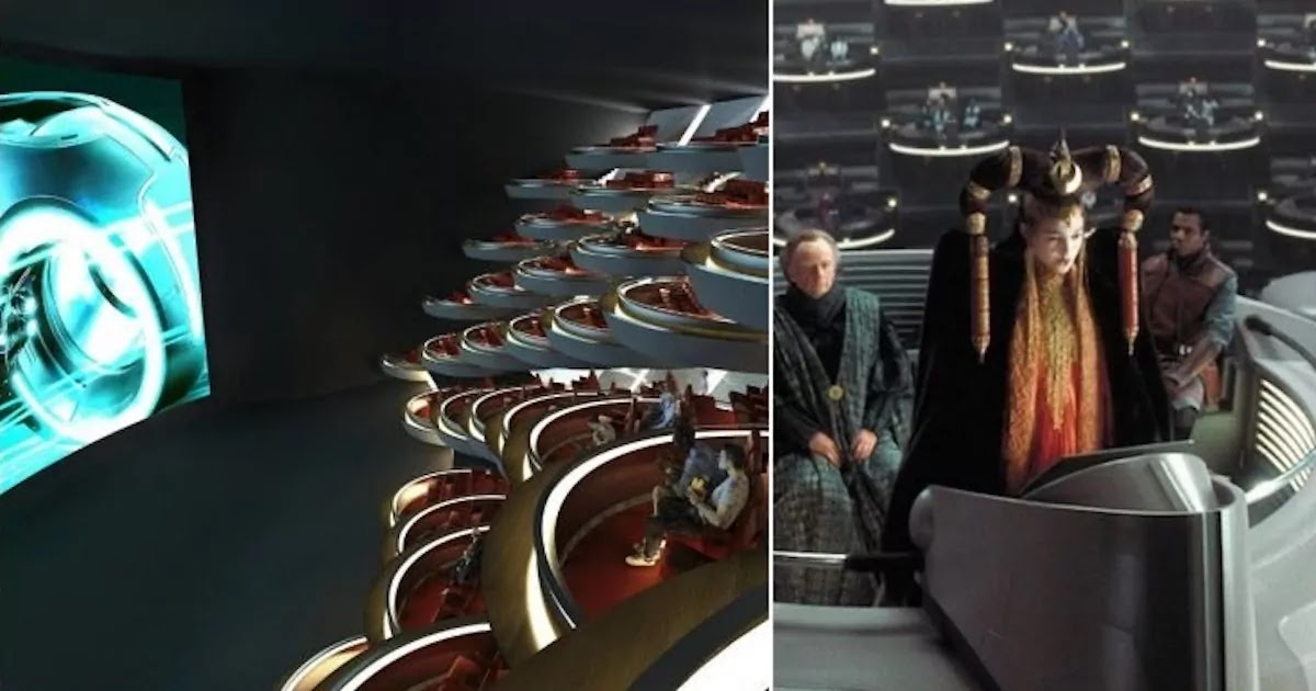 New Socially-Distanced Cinema In Paris Looks Exactly Like Star Wars' Galactic Senate!