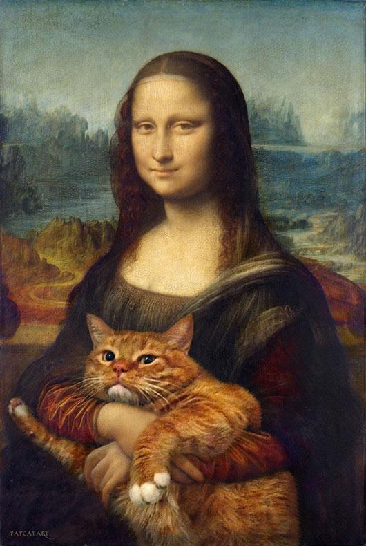 Artista inserta a su obeso gato en pinturas clásicas