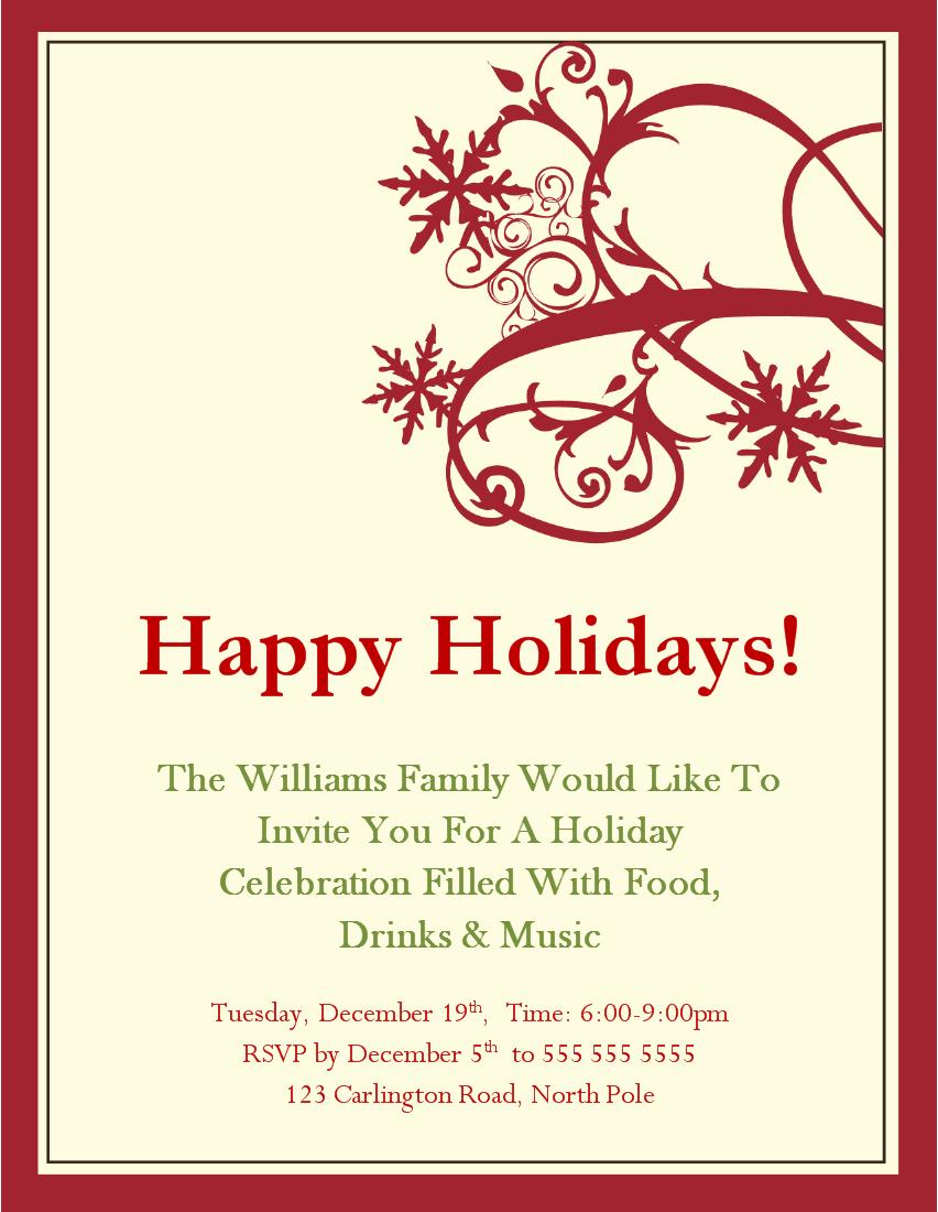 Doc Free Christmas Party Invitation Templates free – Free Party Invitation Templates Word