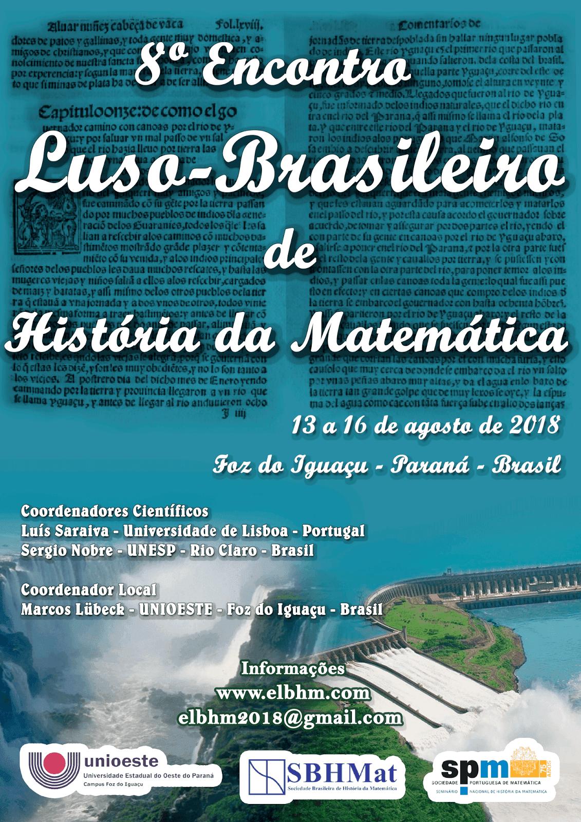 Cartaz  do 8º  Encontro Luso-Brasileiro de História da Matemática, Brasil, 13-16 de agosto de 2018