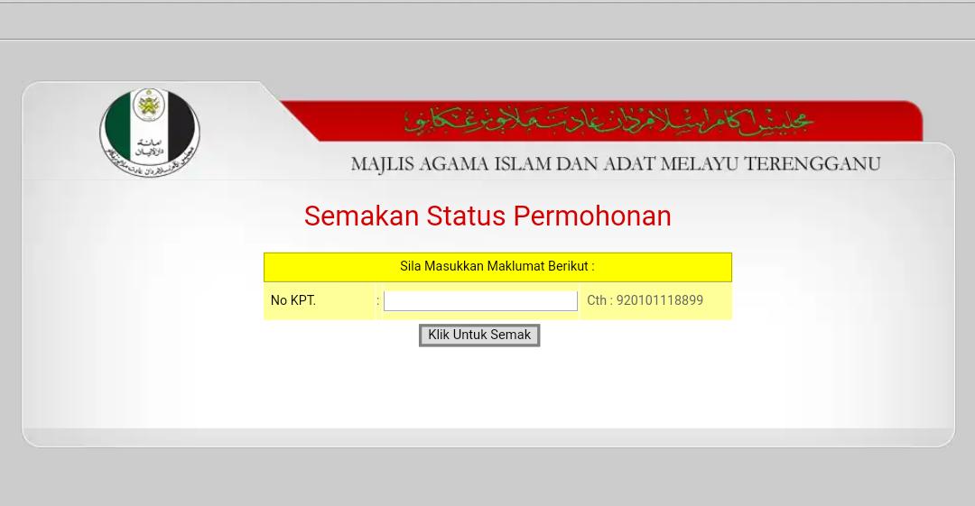 Semakan Status & Permohonan MAIDAM Bantuan Zakat Terengganu