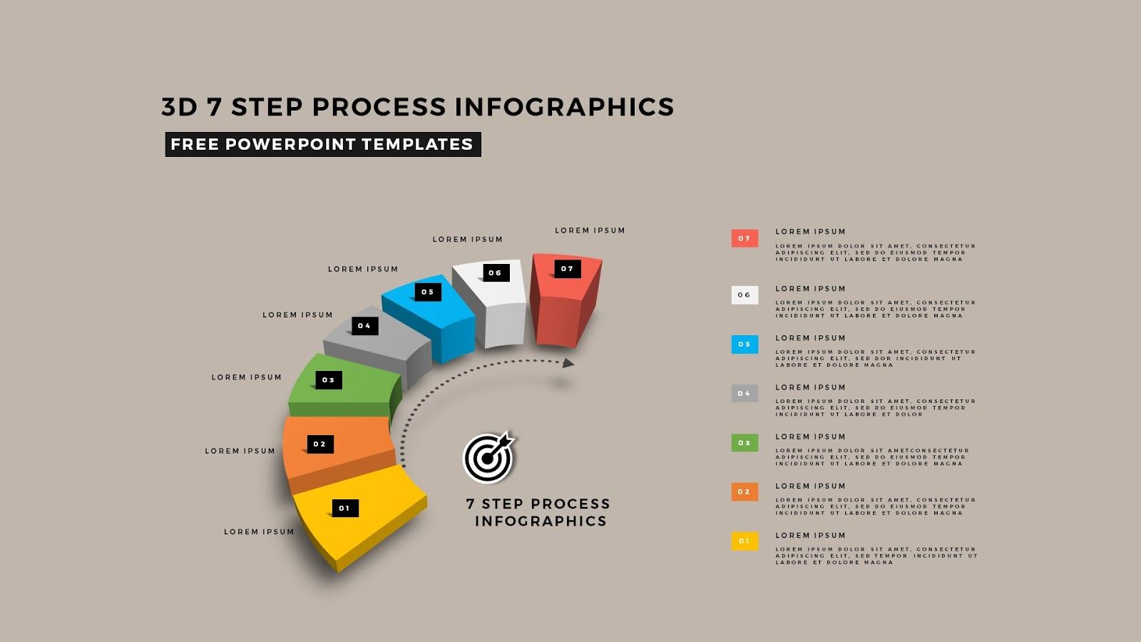 process diagram template powerpoint air source heat pump wiring multi step 3d circular infographics