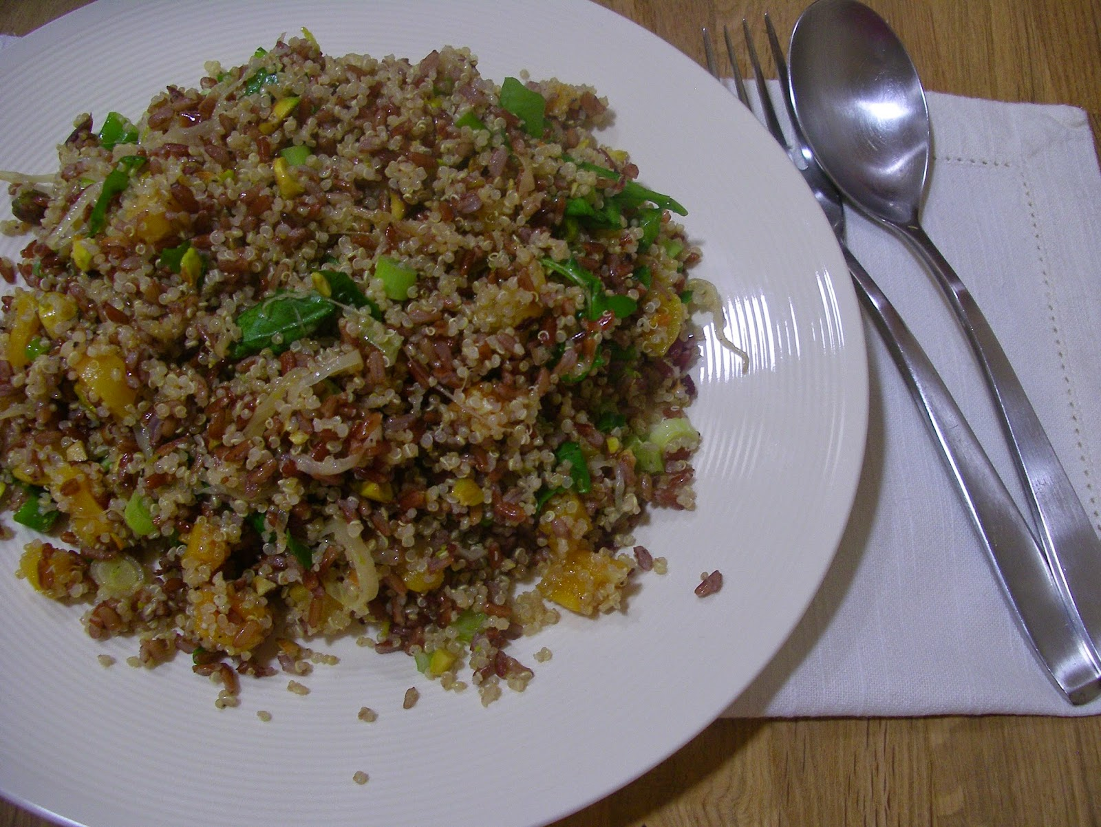 Camargue red rice and quinoa with orange, dried apricots and pistachios