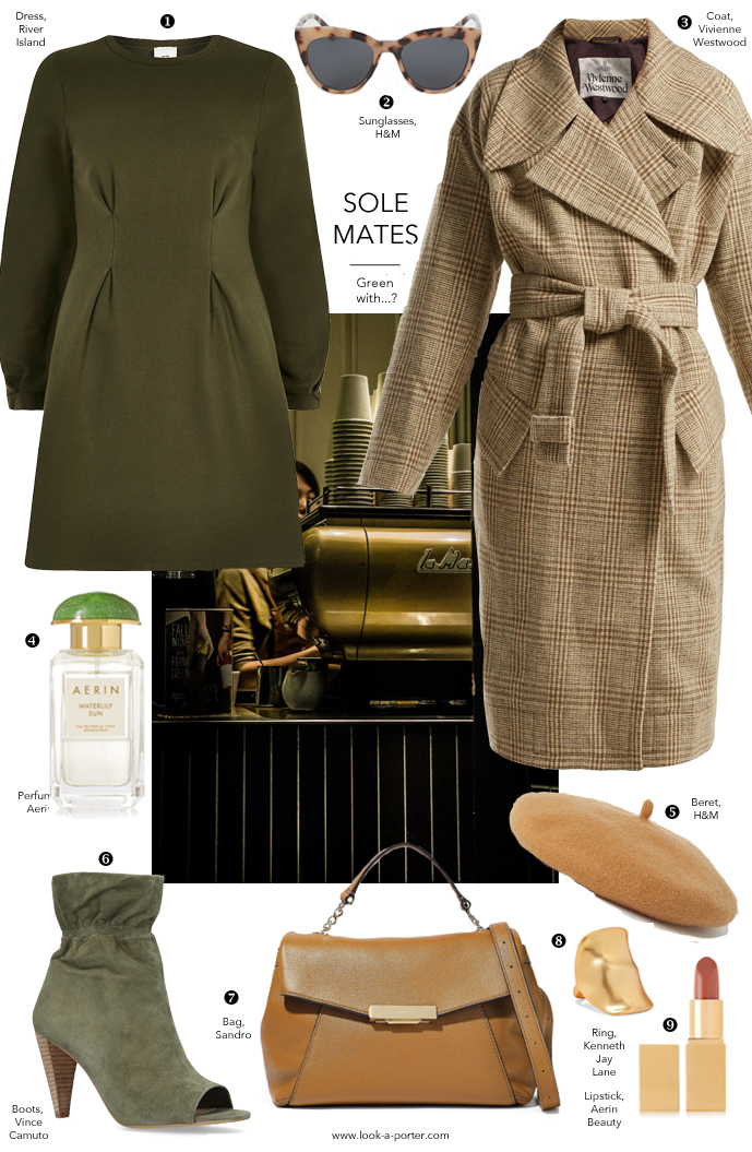 styling olive green dress, tweed coat, vince cameo booties, sandro bag for look-a-porter.com outfit ideas