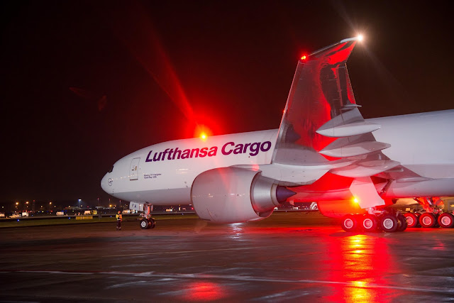 Lufthansa Cargo Boeing 777F Freighter and Compartment