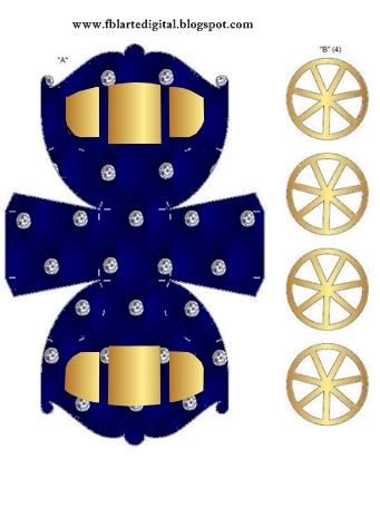 Corona Dorada en Azul y Brillantes: Caja con Forma de Carruaje para Recuerdos de Bodas para Imprimir Gratis.