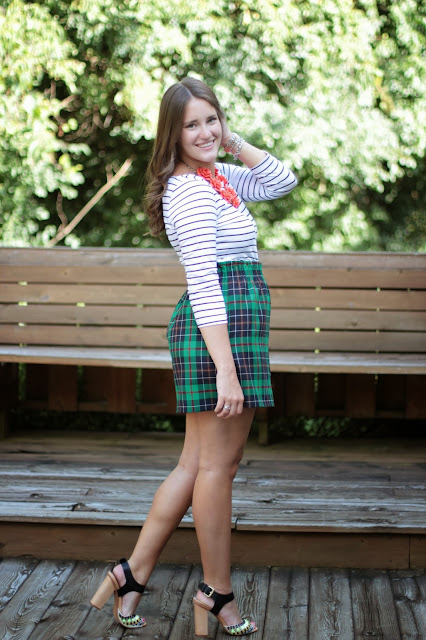 plaid skirt, j. crew plaid skirt, mix prints, southern blogger