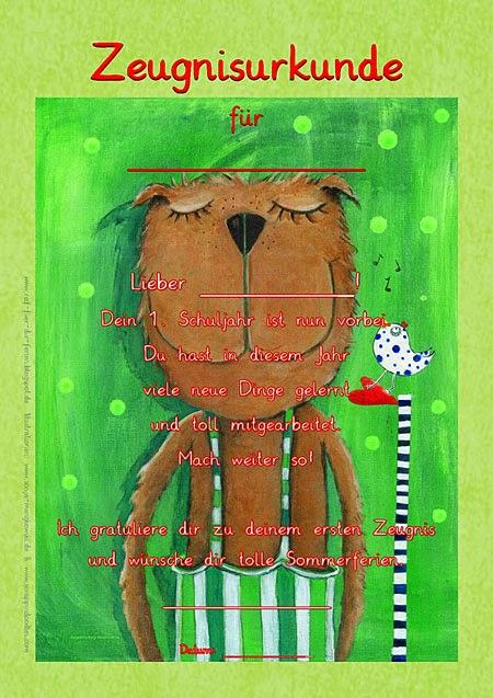 Zeugnisurkunde für Jungen erstes Schuljahr - Herr Bär