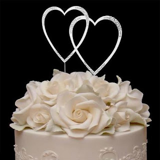 double hearts swarovski wedding cake topper