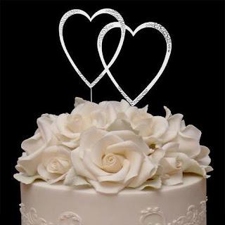 double hearts swarovski wedding cake topper