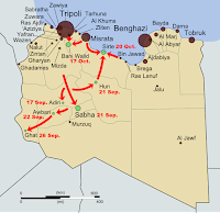 Map showing the final stage of Libya's first civil war (aka the Libyan Revolution) in 2011