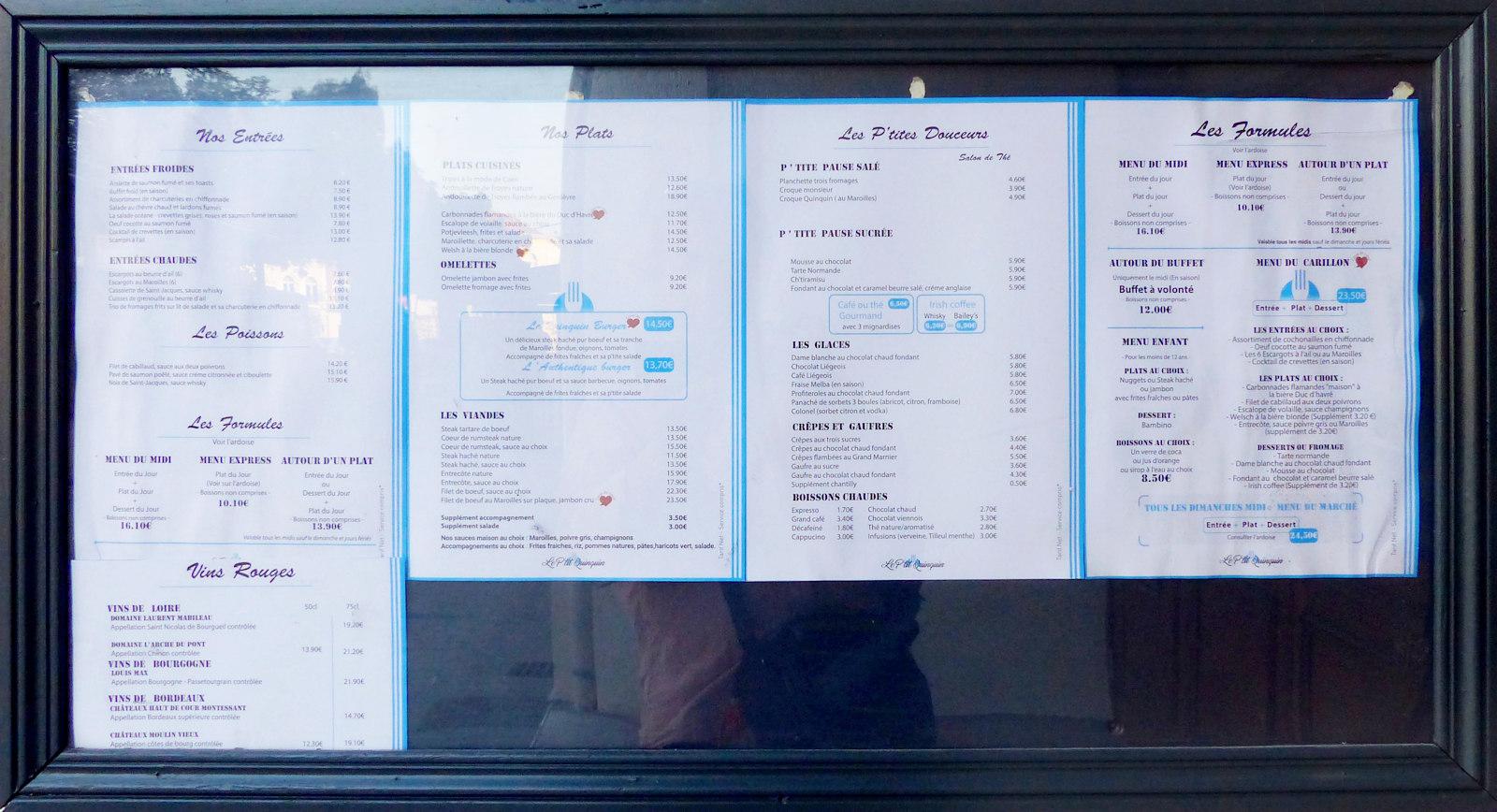 Restaurant Le P'tit Quinquin, Tourcoing - Carte