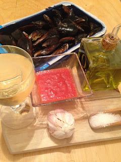 mejillones en salsa picante,, ingredientes