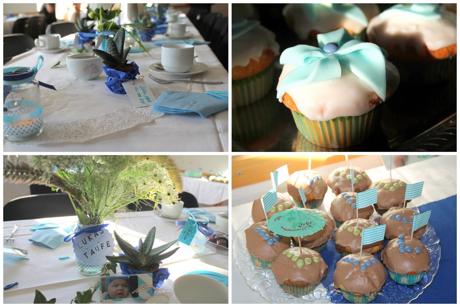 Tischdeko und Cupcakes Taufe