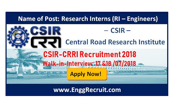 CSIR-CRRI Recruitment 2018