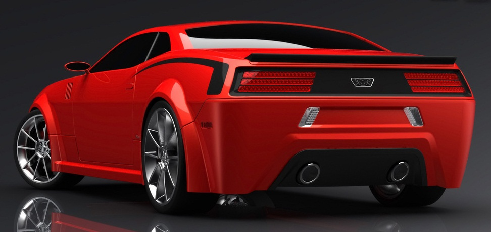 Hemi Cuda Concept Car New Muscle Dynamic And Futuristic Rear Angle View