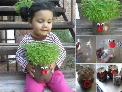 maceta reciclada para niños pequeños