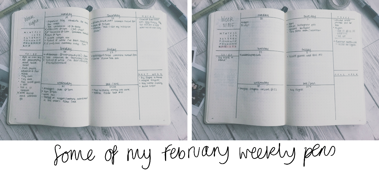 Two of my weekly spreads from February