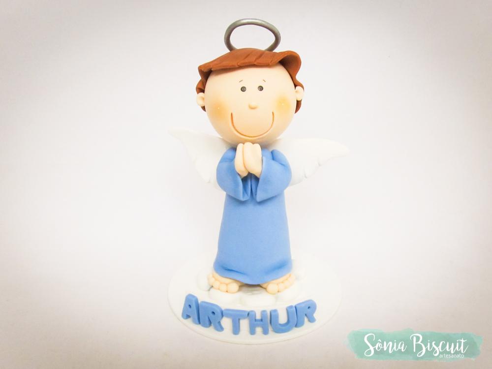 Anjinho Anjo Lembrancinha Topo de Bolo Batizado Biscuit
