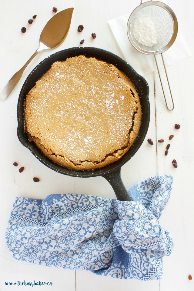 These Skillet Butter Tart Bars are just like classic Canadian butter tarts with a tender shortbread base, chewy butter tart filling, ice cream and caramel! Recipe from thebusybaker.ca!
