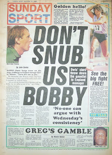 Back page of the Sunday Sport newspaper from 16th Nov 86