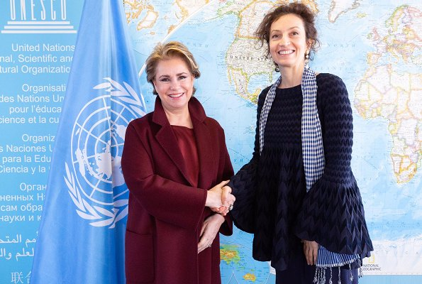 Grand Duchess Maria Teresa and Audrey Azoulay. The Duchess wore a burgundy coat by Paule Ka