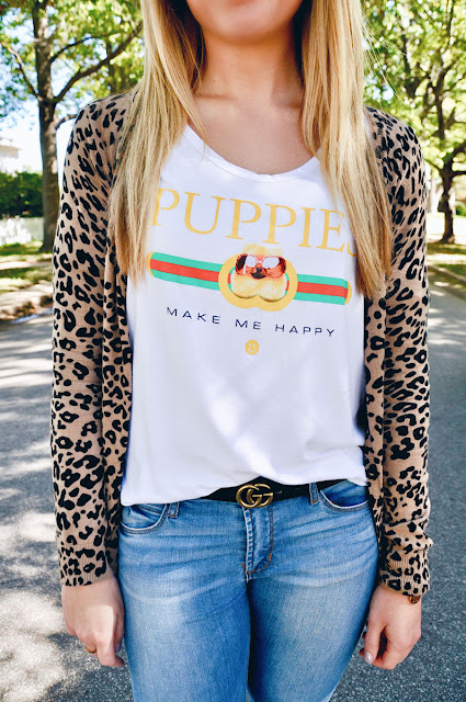 Close up of Girl wearing Leopard Cardigan and Puppy Tee