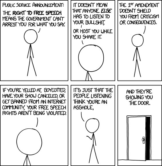XKCD Isn't Funny: XKCD Isn't Even Funny - #1357 - FREE SPEECH