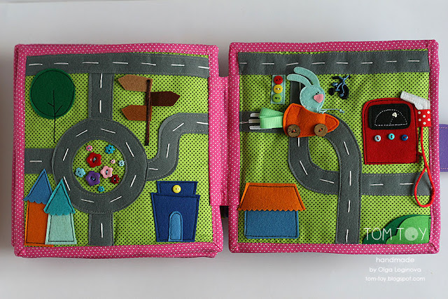 Quiet book for Olivia. Handmade busy cloth book for a girl, car racing