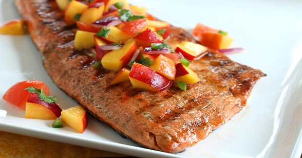 Grilled Salmon With Fresh Peach Jalapeno Salsa Recipe