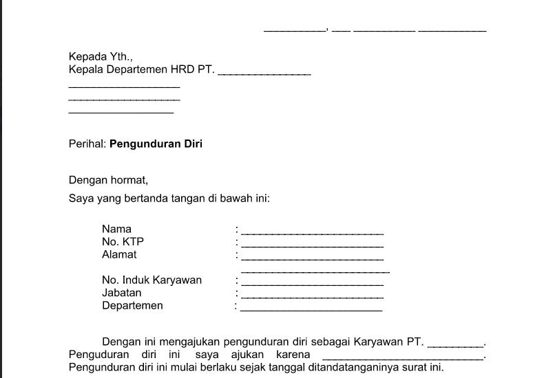 Contoh Surat Pengunduran Diri Karyawan Word - Berbagi ...
